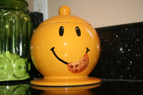 Cookie jar. A gift from The Great Enabler.